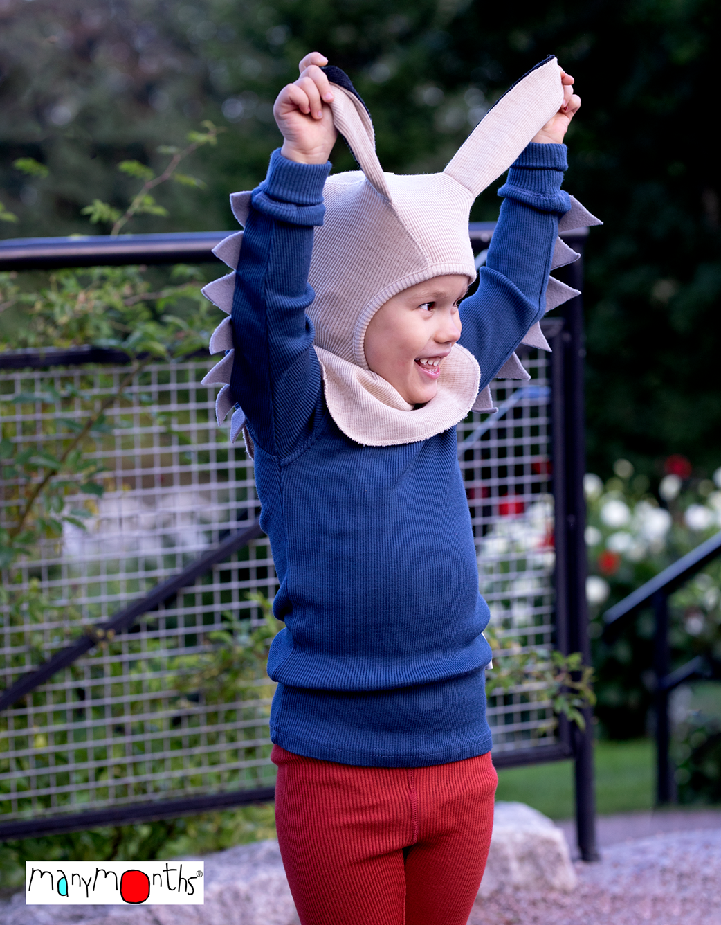 ManyMonths Natural Woollies Elephant Hood with Bunny Ears UNiQUE