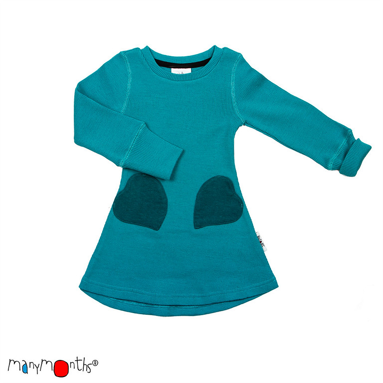 ManyMonths Natural Woollies Heart Pockets Dress, Royal Turquoise