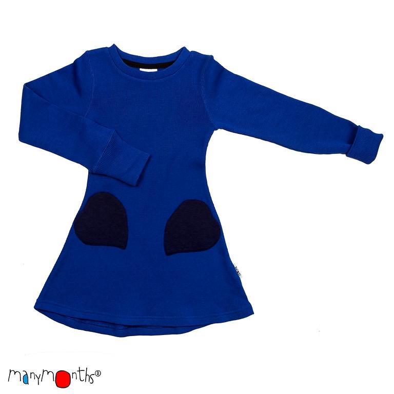ManyMonths Natural Woollies Heart Pockets Dress, Jewel Blue