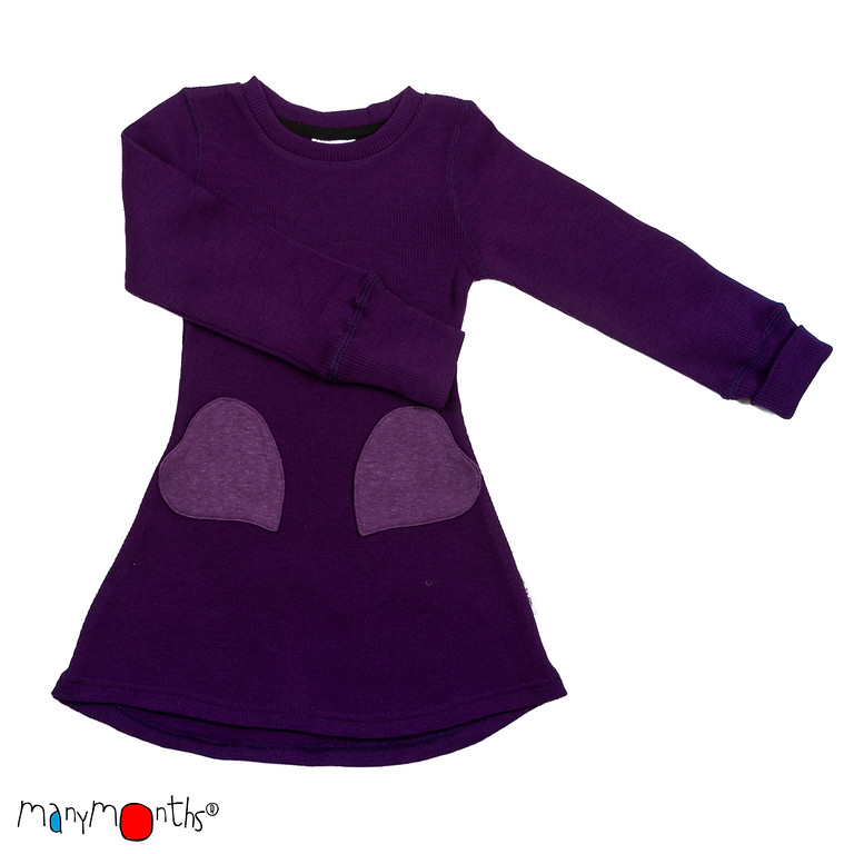 ManyMonths Natural Woollies Heart Pockets Dress, Majestic Plum