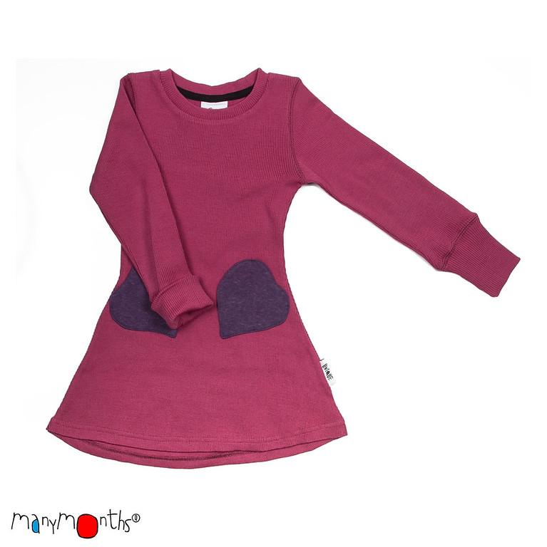 ManyMonths Natural Woollies Heart Pockets Dress, Frosted Berry