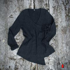 MaM Natural Woollies Wrap Cardigan, Foggy Black