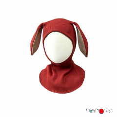 ManyMonths Natural Woollies Elephant Hood with Bunny Ears UNiQUE, Rooibos Red