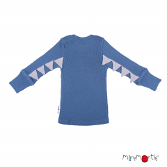 ManyMonths Natural Woollies Long Sleeve Dino Shirt UNiQUE, Cosmos Blue