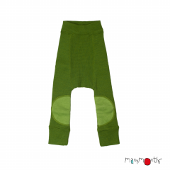 ManyMonths Natural Woollies Longies with Knee Patches, Garden Moss Green