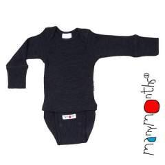 ManyMonths Natural Woollies Body/Shirt Long Sleeve, Foggy Black
